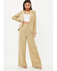 Missguided - Camel Wide Leg Trousers - Lyst