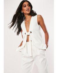 Missguided White Sleeveless Tie Front Blazer
