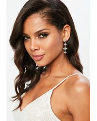 Missguided - Silver Diamante Detail Hoop Earrings - Lyst