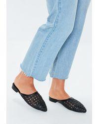 dbca95f64bb8c7 Missguided - Black Braided Flat Mule Shoes - Lyst