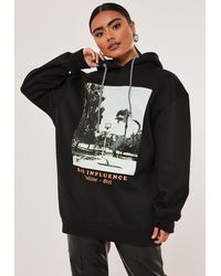 Missguided Black Bad Influence Graphic Hoodie