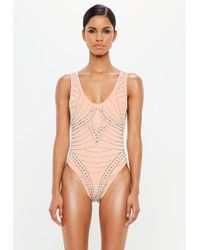 df87b831b3 Lyst - Missguided Peace + Love Grey Deep Plunge Low Back Swimsuit in ...