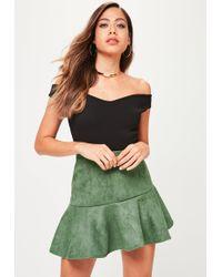 Missguided - Khaki Faux Suede Asymmetric Mini Skirt - Lyst