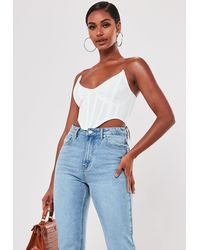 Missguided White High Bust Point Corset Bralette