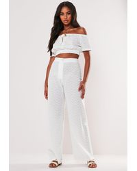 Missguided White Broderie Anglaise Cotton High Waisted Pants