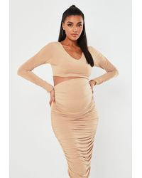 Missguided Champagne Slinky Ruched Sleeve Maternity Crop Top - Metallic