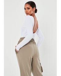 Missguided Crinkle Rib Low Scoop Back Long Sleeve Bodysuit - White