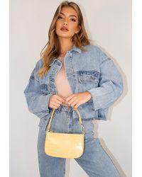 Missguided Yellow Croc Effect Shoulder Bag