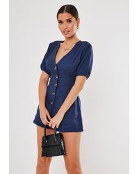 Missguided - Navy Button Front Pleated Romper - Lyst