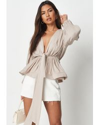 Missguided Taupe Cheesecloth Plunge Flippy Hem Blouse - Natural