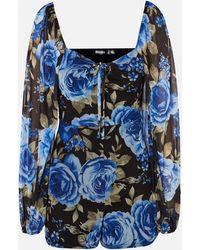 Missguided Floral Print Mesh Playsuit - Blue
