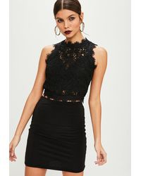 Missguided Tall Black Cornelli Lace Sleeveless Crop Top