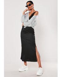 Missguided Black Satin Bias Cut Midi Slip Skirt