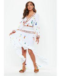 Missguided - White Multi Tassel Mirror Skirt - Lyst