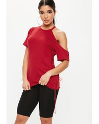 Missguided - Red Lace Up Side Tunic - Lyst