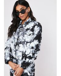 Missguided Black Tie Dye Co Ord Cropped Denim Jacket