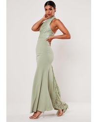 Missguided - Bridesmaid Green Lace Halterneck Fishtail Maxi Dress - Lyst