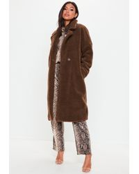 Missguided - Brown Chunky Borg Teddy Coat - Lyst