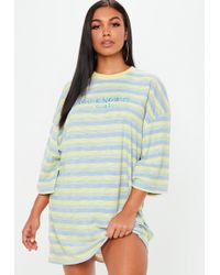 Missguided - Yellow Oversized You Know It Girl Slogan Dress - Lyst