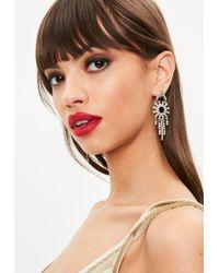 Missguided - Silver Dropped Chandelier Earrings - Lyst