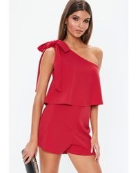 54ff88ded25e Lyst - Missguided Tibieta One Shoulder Romper in Pink