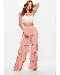 Missguided - Pink Chiffon Tiered Frill Wide Leg Trousers - Lyst