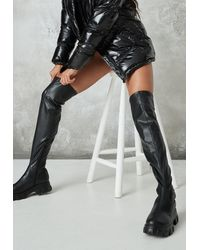Missguided Chunky Sole Thigh High Boots - Black