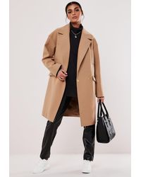 Missguided Camel Raw Edge Formal Coat - Natural