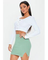 f5c3aef167 Missguided - Green Scuba Split Mini Skirt - Lyst