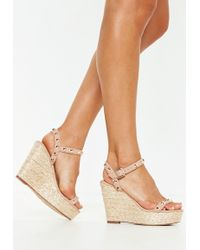 Missguided - Nude Studded Strap Wedge Sandals - Lyst