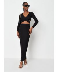Missguided Rib Tie Back Top And Maxi Skirt Co Ord Set - Black