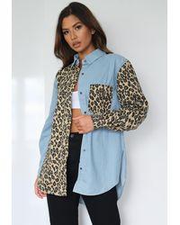 Missguided Leopard Print Oversized Denim Shirt - Blue