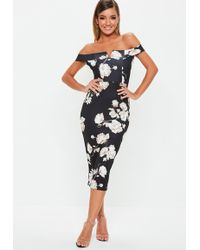 Missguided - Tall Black Floral V Bar Dress - Lyst