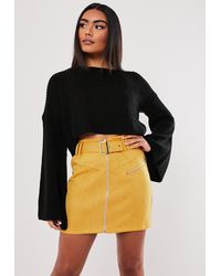 Missguided Faux Suede Buckle Detail Mini Skirt - Yellow