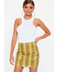 0c1b16f74 Missguided Faux Leather Snake Skin Mini Skirt Tan in Brown - Lyst