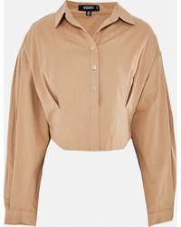 Missguided Twill Corset Seam Cropped Shirt - Natural