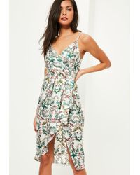 Missguided - White Silky Drape Floral Shift Dress - Lyst