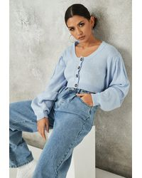 Missguided - Basic Puff Sleeve Cropped Knit Cardigan - Lyst