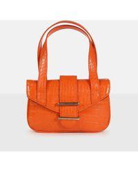 Missguided Croc Top Handle Bag - Orange