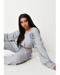Missguided Plus Size Grey Waffle Cropped Hoodie