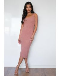 Missguided Rose Cosy Knit Midaxi Dress - Pink