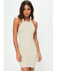 Missguided - Nude Halterneck Ribbed Bodycon Dress - Lyst