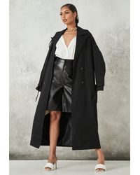 Missguided Oversized Trench Coat - Black