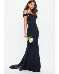 Missguided - Bridesmaid Navy Bardot Lace Insert Fishtail Maxi Dress - Lyst