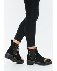 Missguided - Black Extreme Spike Faux Suede Ankle Boots - Lyst