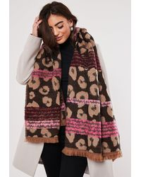 Missguided Brown Leopard Print Neon Detail Scarf