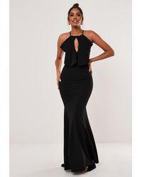 Missguided - Halter Keyhole Fishtail Maxi Dress - Lyst
