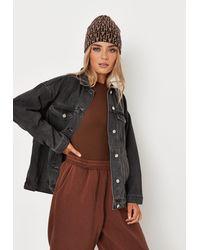 Missguided Recycled Oversized Denim Jacket - Black