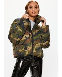 Missguided - Khaki Camo Cropped Puffer Jacket - Lyst