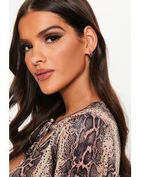 Missguided - Gold Look Triple Mini Hoop Earrings - Lyst